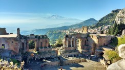 View of Mt. Etna from Taormina, Sicily